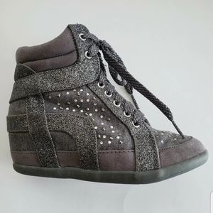 Justice Wedge Sneakers Bootie Silver Glitter 1